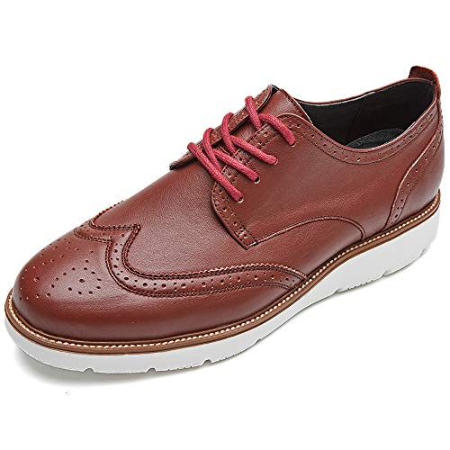 LAOKS Men's Brogue Wingtip Oxford Dress Shoes for Travel Business Casual Lace Up Brown