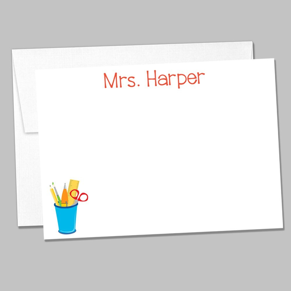 Set of 10 Personalized Flat Back to School Themed Notecards - Notecard & Envelope Gift Set - Stationary Set for Teachers (ID192)