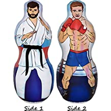 Infinafit Inflatable Two Sided Karate and Boxing Punching Bag | Includes One Inflatable 5 Foot Tall Bop Bag with Illustration of a Karate Master on One Side and Boxer on Reverse Side