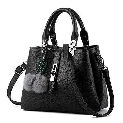 Angelliu Women's Solid Leather Tote Handbag Shoulder Bag With Accessory Black