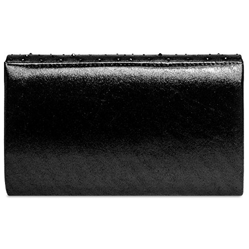 Black Envelope Evening Glitter CASPAR Clutch Rhinestone with Elegant Ladies TA423 Bag UKq6vE