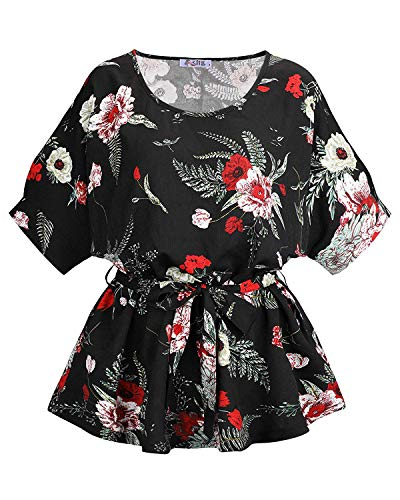 KILIG Women's Summer Tops Round Neck Self Tie Short Sleeve Casual Floral Blouse ()