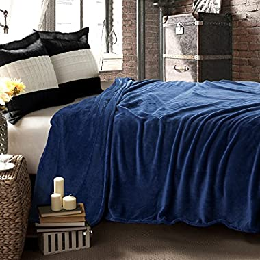 Flannel Throw Blankets, Bed Blanket by Bedsure-100% Plush Microfiber(Warm/Cozy/Fluffy), Lightweight and Easy Care, Couch Blanket, Twin Full/Queen King(90 x90  Blue Navy)