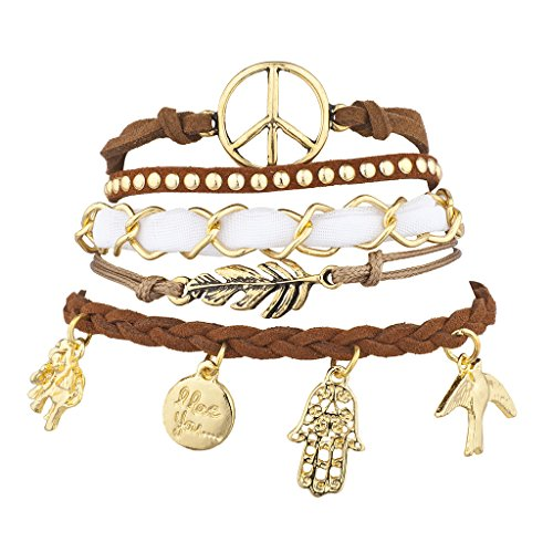 Lux Accessories Goldtone Brown Suede Peace Sign Leaf Charm Arm Candy Set 5pcs