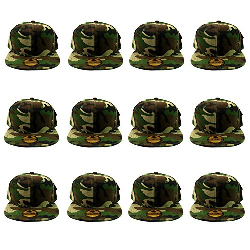 Gelante Plain Blank Flat Brim Adjustable Snapback Baseball Caps Wholesale LOT 12 Pack - Youth Cap Adjustable Camo