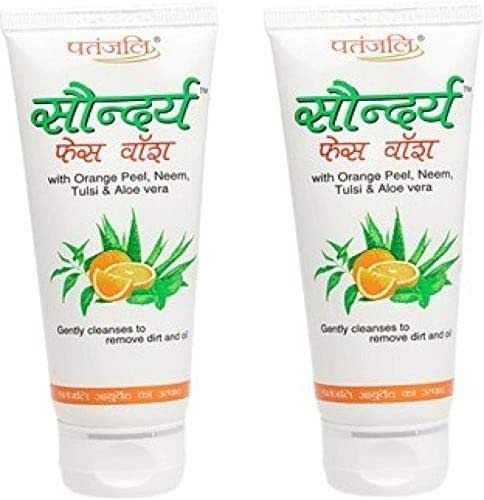 (Pack of 3) Herbal Patanjali Saundarya Face Wash 60g With Orange Peel, Neem. Tulsi & Aloe vera Gently Cleanses To Remove Dirt And Oil Best New