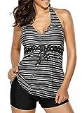 EVALESS Women's Striped V Neck Halter Top and Black Shorts Tankini Swimsuit Set