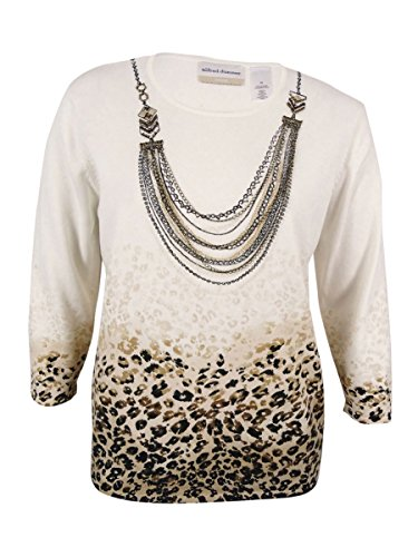 Alfred Dunner Print Sweater (Alfred Dunner Women's Plus Madison Park Animal-Print Necklace Sweater (Multi,1X))