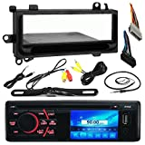 Pyle PLD34MUB 3'' LCD CD AM/FM Bluetooth Receiver Bundle Combo With License Plate Mount Rear View Backup Camera + Dash trim Kit & Wiring Harness For 1974-Up Chrysler/Dodge/Jeep Cars + Enrock Antenna