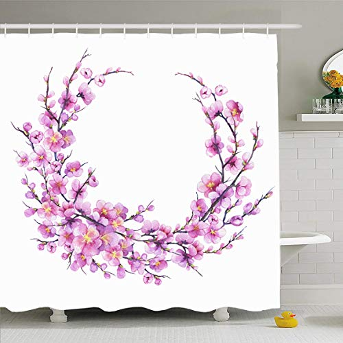 Ahawoso Shower Curtain 72x72 Inches April Watercolor Acuarelle Round Pink Sakura Flower Nature Acuarele Apple Asia Blooming Blossom Oriental Waterproof Polyester Fabric Set with Hooks