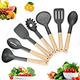 nylon cookware utensils - Kitchen Utensil Set - 7 Piece Premium Nylon Cooking Utensils Set with Wood Handles for Nonstick Cookware - Kitchen cooking sets with Turners,Tongs,Spatula & Spoons - Best Kitchen Tools for Gift