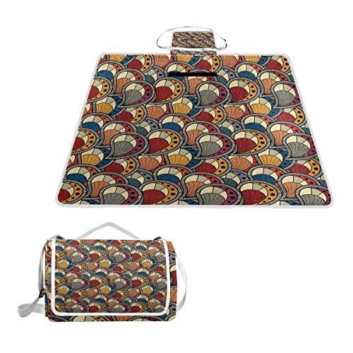 (YCHY Paisley Motifs with Geometric Design Dots and Lines Teardrop Shape Curved Tip Picnic Mat Sandproof and Waterproof Outdoor Picnic Blanket for Camping Hiking Beach Grass Travel)
