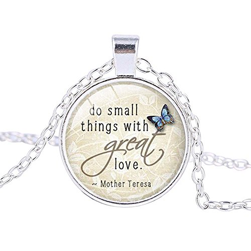 FM FM42 Silver-tone Saying of Mother Teresa Round Pendant Necklace with 26