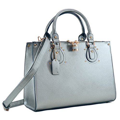 Dasein Designer Faux Leather Padlock Handbag Lock Satchel Purse Briefcase Tablet iPad Bag (AP8808- Petwer 1) ()