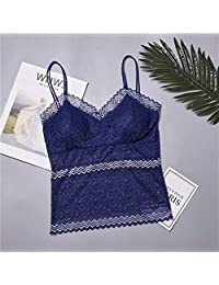 2 Pieces Women's Fashion Lace Tube Top Camisole Adjustable Woman Sexy Cropped Ladies Top Women's Soft Tank Top Bra (Color : Blue, Size : One Size)