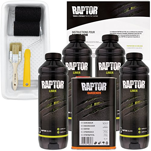 U-POL Raptor Black Urethane Spray-On Truck Bed Liner Kit with included Roller, Tray & Brush, 4 Liters