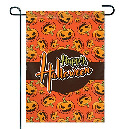 Amuseds Double Sided Premium Holiday Garden Flag,Pumpkin Smiley face Decorative Garden Flags - 18 x 12 -