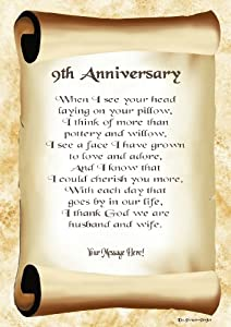 9th anniversary personalised poem gift print amazon 9th anniversary personalised poem gift print negle Choice Image