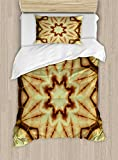 Ambesonne Mandala Duvet Cover Set Twin Size, Trippy Ethnic Thai Mandala Motif with Dirty Grunge Smear and Rough Stains Art, Decorative 2 Piece Bedding Set with 1 Pillow Sham, Mustard Brown