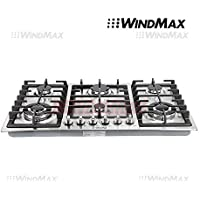 Ships From CA, USA WindMax® 34 Stainless Steel 6 Burner Built In Stoves NG LPG Gas Cooktops Cooker