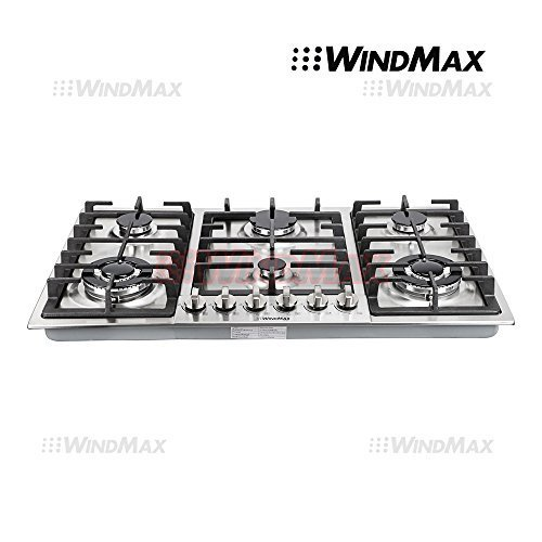 Ships From CA, USA WindMax® 34″ Stainless Steel 6 Burner Built In Stoves NG LPG Gas Cooktops Cooker