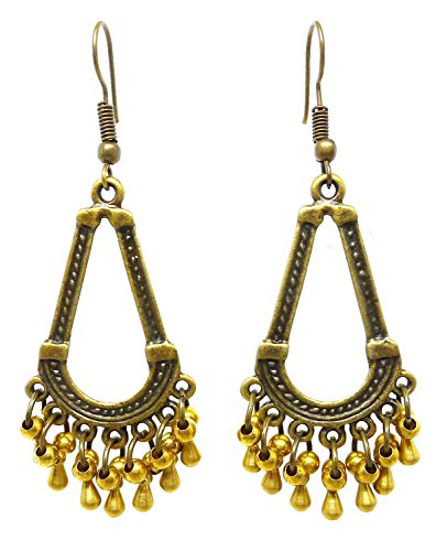 Bijoux De Ja Bronze and Brass Beads Moroccan Style Drop Dangling Earrings (Tear Drop)