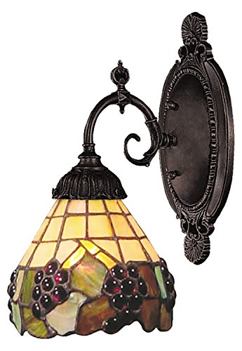 Mix-N-Match 1 Light LED Wall Sconce in Vintage Antique and Stained Glass (071 Tb 07 Mix)