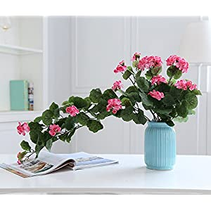 Lopkey Artificial Silk Begonia flowers Patio Lawn indoor Decor,Rose Red 48