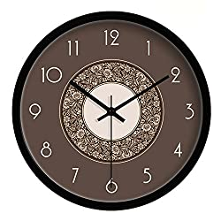 Yoopay Super Silent Wall Clocks Non Ticking Quiet Sweep Decorative Clocks for Living room Bedroom Dining room Office, black metal paint box, 10 inches