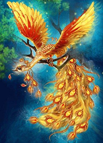 Gold Phoenix Diamond Painting Cross Stitch Crystal Needlework Full Drill Diamond Mosaic Resin Arts Crafts Home Decorative Peacock Animals