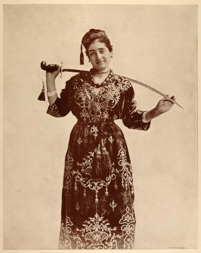Jewish Lady Costume (1893 Chicago World's Fair Portrait Jewish Woman Dancer Costume Dress Sword Dance - Original Halftone Print)