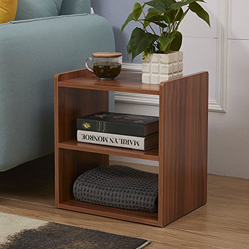 GreenForest Bedside Table 3-Tier Wood Organizer Storage Shelf Bedroom Nightstand End Side Coffee Table, (Bedroom Walnut Nightstand)