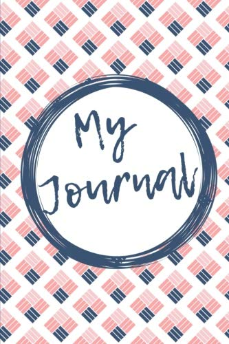 My Journal: Navy and pink cross stitch design 108 page journ