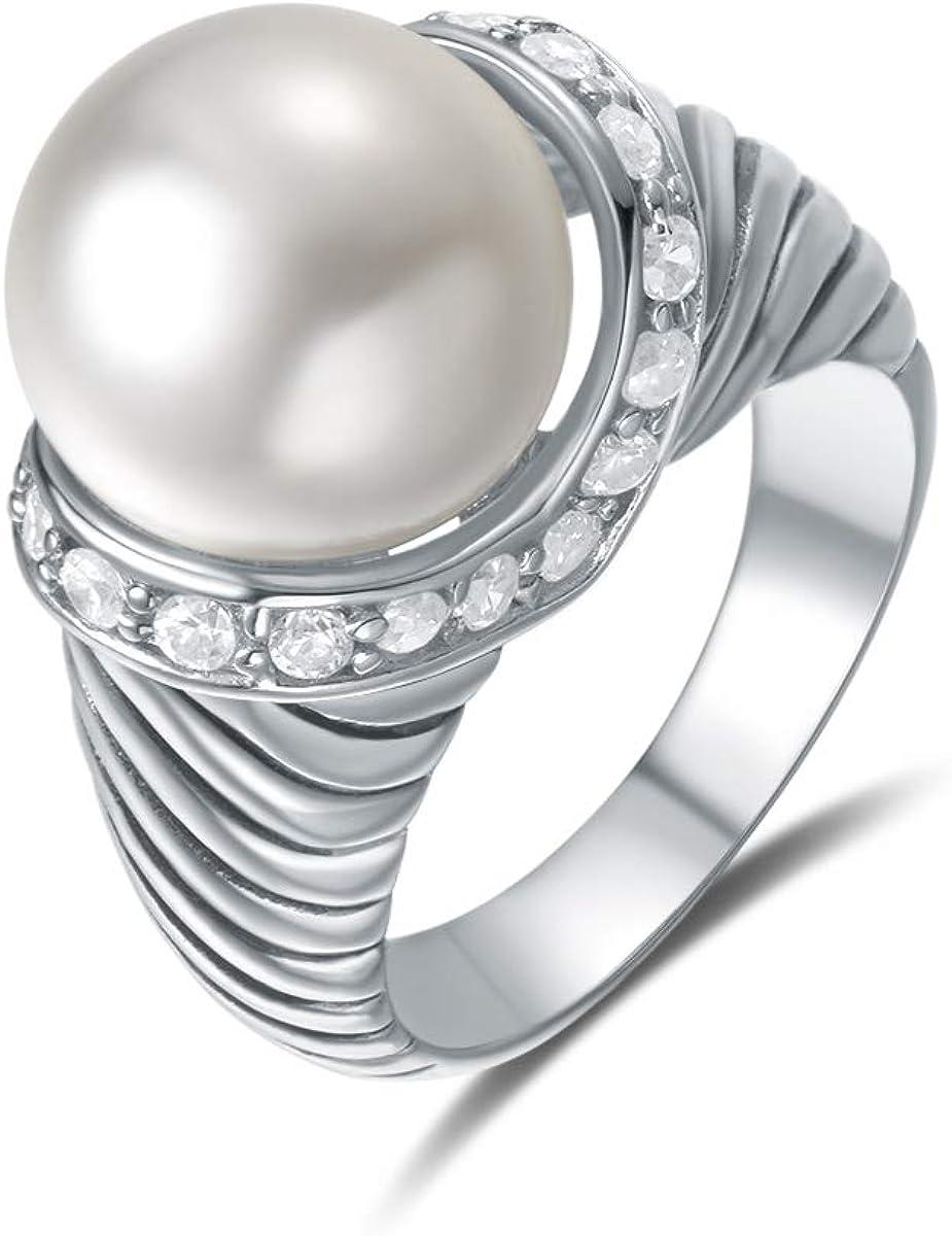 Quiges Racimo Anillo de Plata 925 con Piedras de Zirconia Transparentes y Perla Artificial para Mujeres