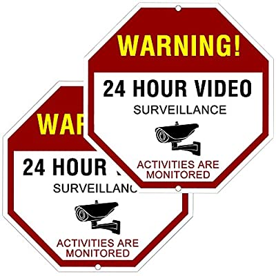 "ATBAY Video Surveillance Sign Aluminum Waterproof Indoor Outdoor 24 Hours Security Alert Signs 12""x12"" Octagon,(Pack of 2) from ATBAY"