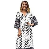 POTO Dress for Women, Vintage Printed V Neck Long Maxi Dress Bohemian Evening Party Dress Beach Dress (M, White B)