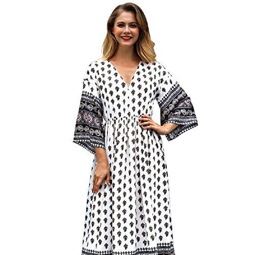POTO Dress for Women, Vintage Printed V Neck Long Maxi Dress Bohemian Evening Party Dress Beach Dress (M, White B) by POTO