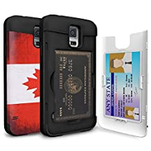 Galaxy S5 Case, TORU [CX PRO S5 Wallet Case Canadian] Protective Slim Fit Dual Layer Hidden Card Slot Holder and Mirror for Samsung Galaxy S5 / S5 Neo - Canada Flag