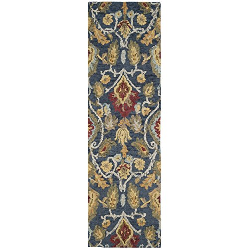 Safavieh Blossom Collection BLM402A Handmade Navy and Multi Premium Wool Runner (2'3'' x 12') by Safavieh