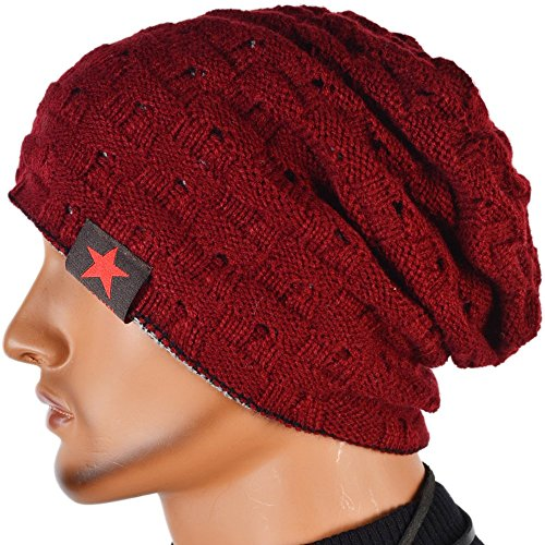 (Men Reversible Slouchy Beanie Hat Unisex Skull Hat (red))