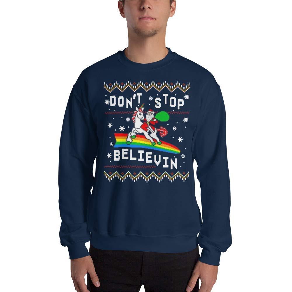 Navy Large payatek Don't Stop Believing in Christmas Unicorn Santa Ugly Christmas Sweatshirt Cute