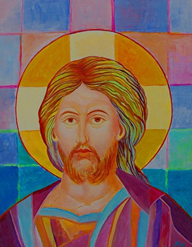 First Communion Portrait (Jesus painting for living room Pantocrator icon Catholic wall art Christian art work from Poland)