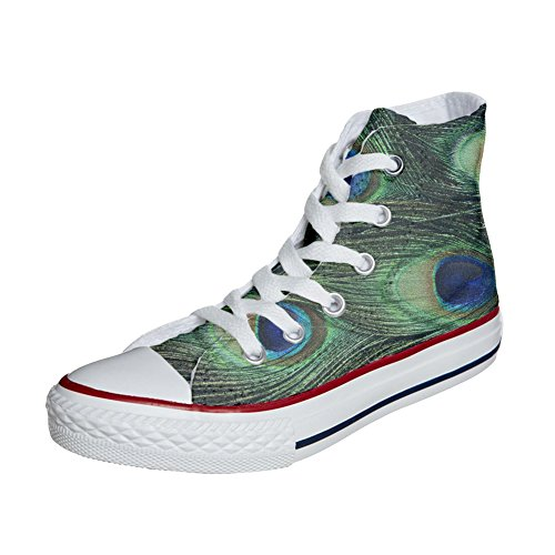 Real All Pavo Star Producto Handmade Zapatos Personalizados Converse d7gqwx0C0