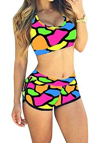 Rapidev QingLemon Women Bandage Sporty Bathing Suit Boyleg Short Swimwear Swimsuit(FBA) (S, Redstone)