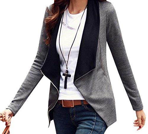 Honey GD Womens Slim Fit Zipper Long Sleeve Cardigan Outwear Blazer