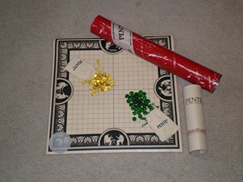 Contains Instructions (Vintage PENTE STRATEGY GAME early edition in red tube, green and yellow stones, rolled board mat, and Instruction Booklet is Fourth Edition copyright 1977, 1979, 1981 (contains Terminology, Rules, Strategies and Advanced Variations).)