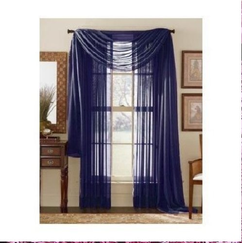MONAGIFTS 2 PANELS NAVY BLUE Sheer Voile Window Panel curtains 59″ WIDTH X 84″ LENGTH EACH PANEL