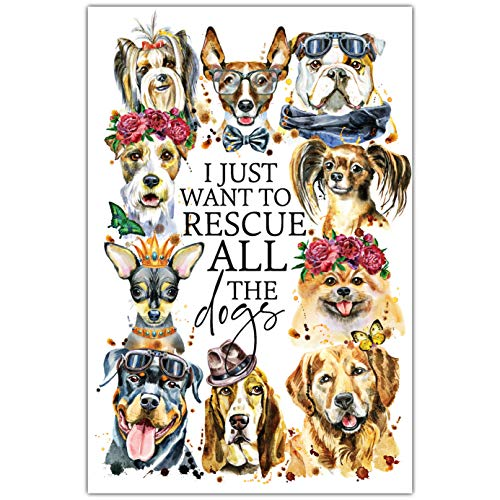 "Rescue The Dogs Wood Plaque with Inspiring Quotes 6"" x 9"" - Classy Vertical Frame Wall & Tabletop Decoration 