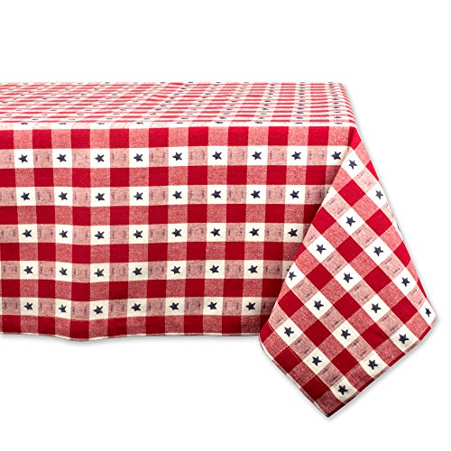 DII Rectangular Cotton Tablecloth for Independence Day, July 4th Party, Summer BBQ and Outdoor Picnics - 60x84