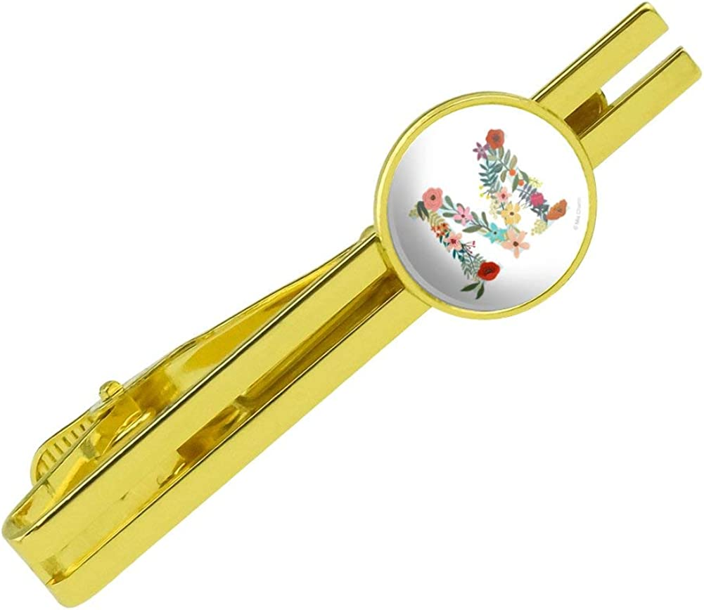 GRAPHICS /& MORE Letter M Floral Monogram Initial Round Tie Bar Clip Clasp Tack Gold Color Plated